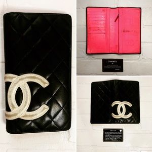 Authentic Chanel Black and White Logo Wallet